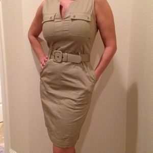 Banana Republic tan belted tank top safari dress